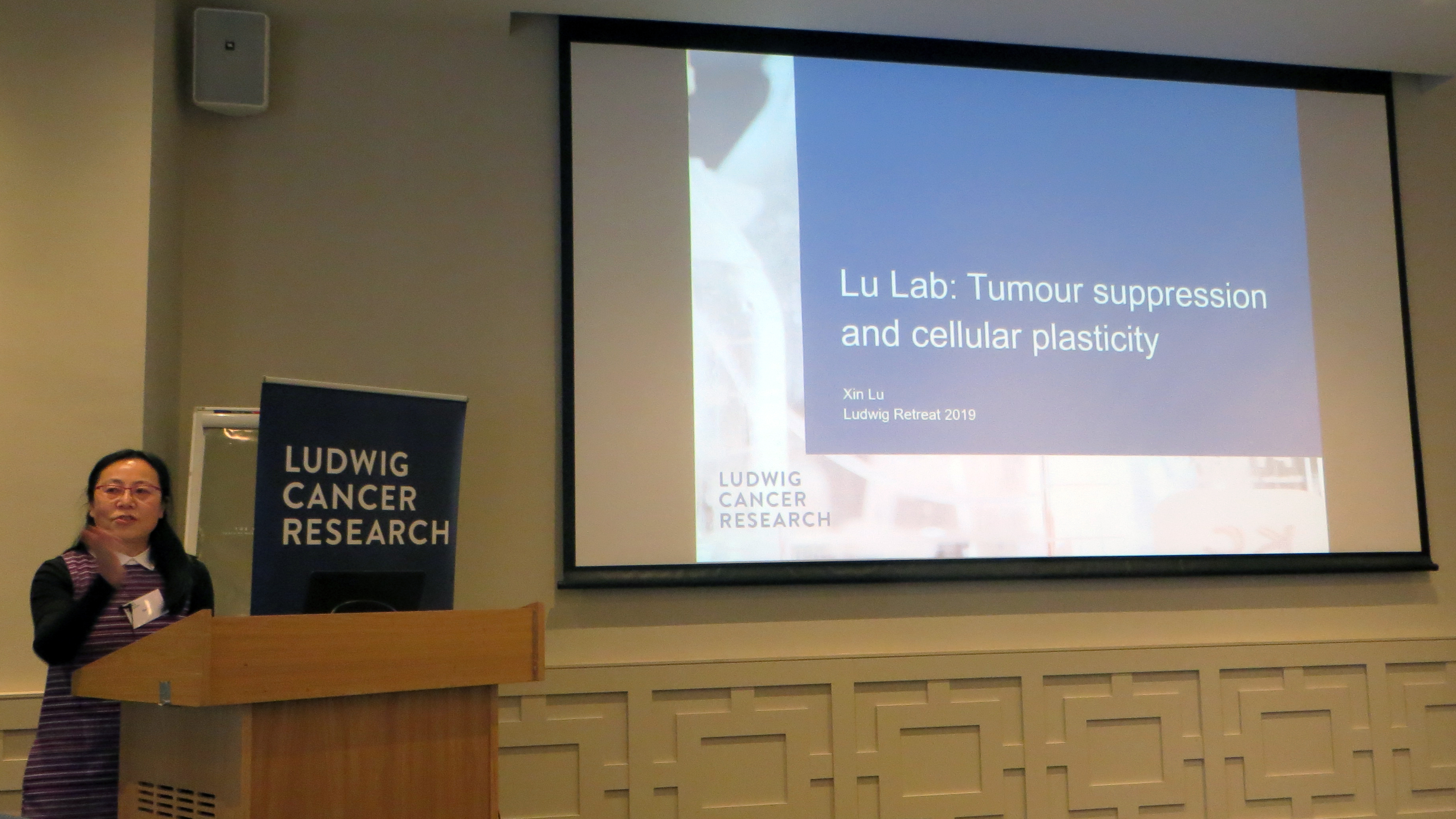 Xin Lu presenting at the Ludwig retreat. The text on the slide reads